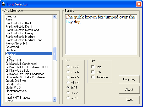 Screenshot of Font Selector software